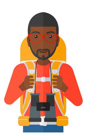 watcher: An african-american man with backpack and binoculars hiking vector flat design illustration isolated on white background. Illustration