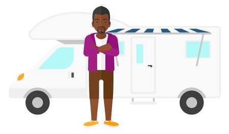 An african-american man standing in front of motor home vector flat design illustration isolated on white background.