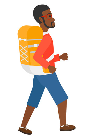africanamerican: An african-american man with backpack hiking vector flat design illustration isolated on white background.