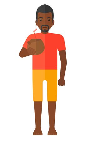 An african-american man drinking a coconut milk vector flat design illustration isolated on white background.  イラスト・ベクター素材