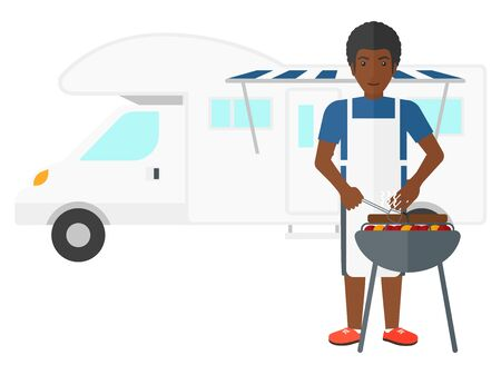 motor home: An african-american man preparing barbecue in front of motor home vector flat design illustration isolated on white background. Illustration