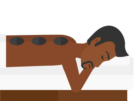 An african-american relaxing while getting stone therapy massage vector flat design illustration isolated on white background. Illustration