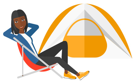 campsite: An african-american woman sitting in a folding chair at campsite vector flat design illustration isolated on white background. Illustration