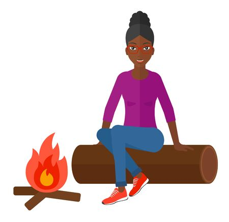 An african-american woman sitting on a log at camp near the fire vector flat design illustration isolated on white background. Vettoriali