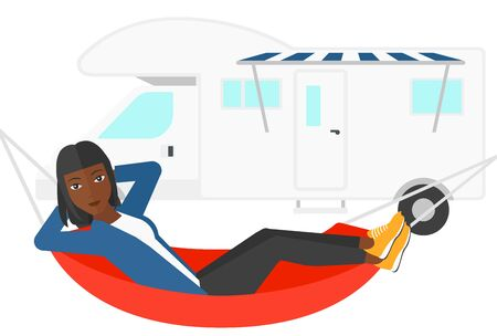 car isolated: An african-american woman lying in a hammock in front of motor home vector flat design illustration isolated on white background.