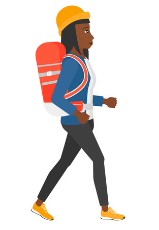 woman hiking: An african-american woman with backpack hiking vector flat design illustration isolated on white background.