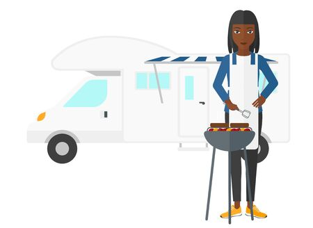 motor home: An african-american woman preparing barbecue in front of motor home vector flat design illustration isolated on white background. Illustration