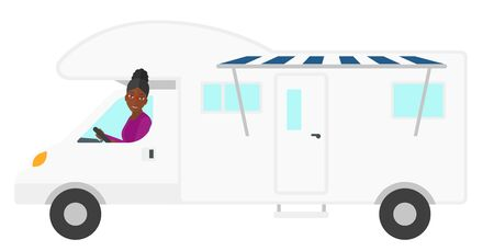 woman driving: An african-american woman driving a motor home vector flat design illustration isolated on white background.