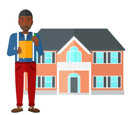 signing: An african-american real estate agent signing documents in front of the house vector flat design illustration isolated on white background. Illustration