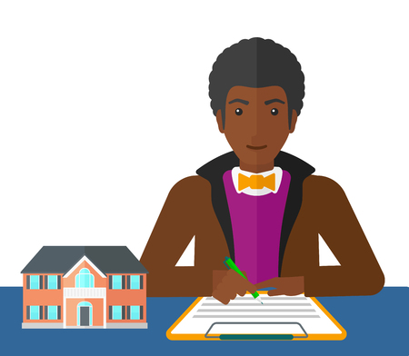 signing a contract: An african-american man sitting at the table while signing a contract and a small model of the house standing on the table vector flat design illustration isolated on white background.