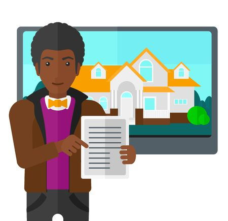 big screen: An african-american man standing in front of big screen with house photo and holding a tablet computer in hands vector flat design illustration isolated on white background.