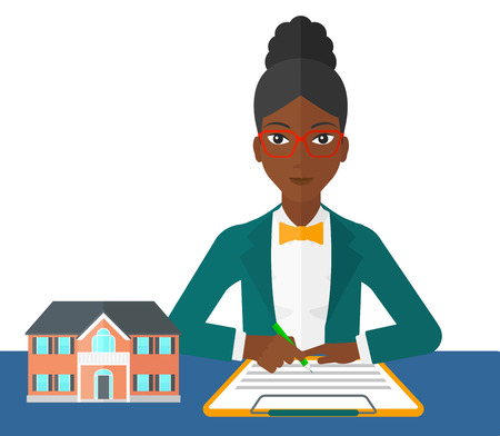 An african-american woman sitting at the table while signing a contract and a small model of the house standing on the table vector flat design illustration isolated on white background.