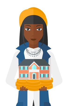 hands holding house: An african-american woman holding model of house in hands vector flat design illustration isolated on white background.