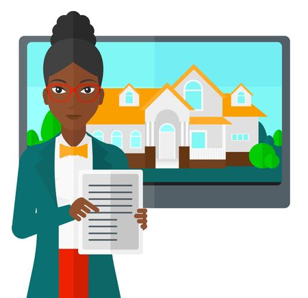 hands holding house: An african-american woman standing in front of big screen with house photo and holding a tablet computer in hands vector flat design illustration isolated on white background.