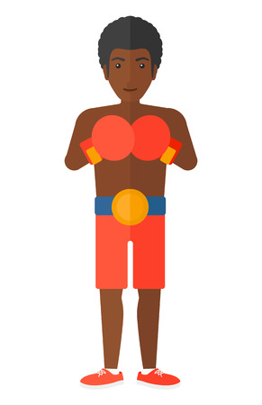 africanamerican: An african-american boxer in gloves vector flat design illustration isolated on white background.