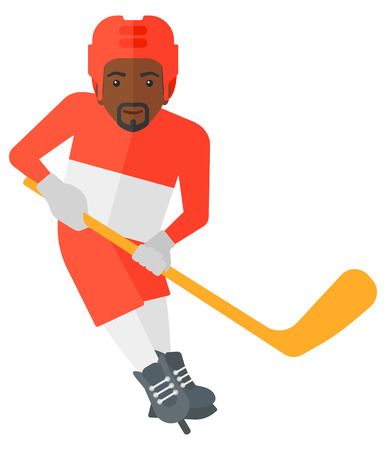 puck: An african-american ice-hockey player skating with a stick vector flat design illustration isolated on white background.