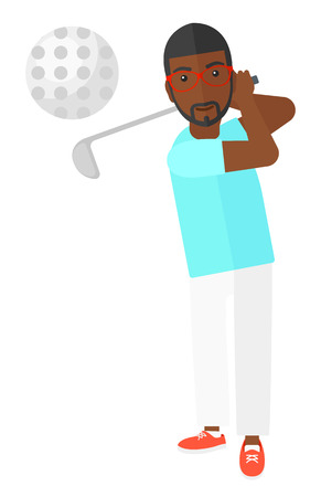 An african-american golf player hitting the ball vector flat design illustration isolated on white background.