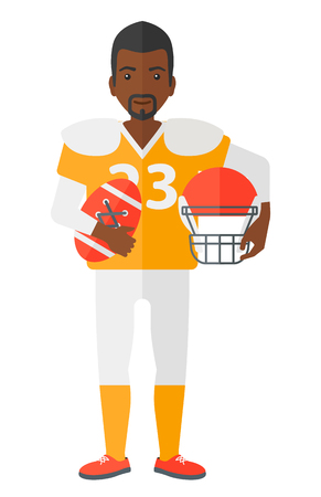 rugby player: An african-american rugby player standing with ball and helmet in hands  vector flat design illustration isolated on white background. Illustration