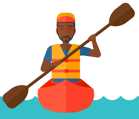 black white kayak: An african-american man riding in a canoe vector flat design illustration isolated on white background.
