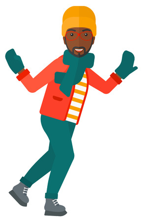 An african-american man ice skating  vector flat design illustration isolated on white background. Çizim