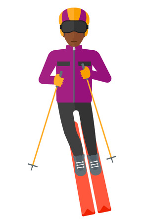 africanamerican: An african-american young man skiing vector flat design illustration isolated on white background. Illustration