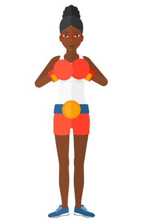 women exercise: An african-american boxer in gloves vector flat design illustration isolated on white background.