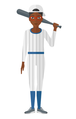 An african-american baseball player standing with a bat vector flat design illustration isolated on white background.
