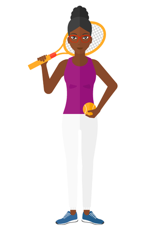 An african-american big tennis player holding a tennis racket and a ball vector flat design illustration isolated on white background.