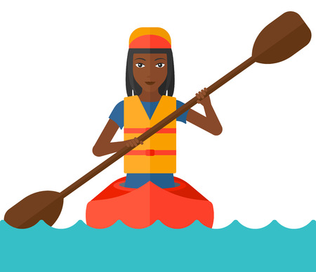 black white kayak: An african-american woman riding in a canoe vector flat design illustration isolated on white background. Illustration