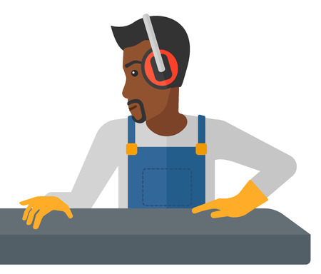 An african-american man working on a steel-rolling mill vector flat design illustration isolated on white background.