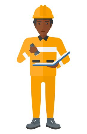 checking: An african-american miner checking a paper plan with the flashlight vector flat design illustration isolated on white background.