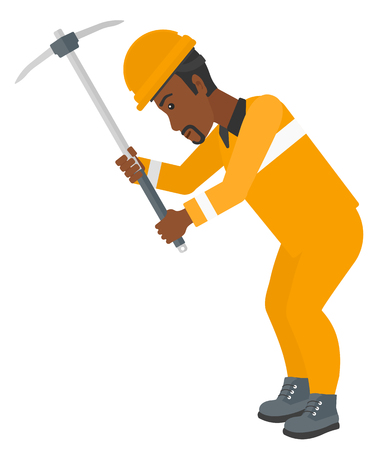pickaxe: An african-american man working with a pickaxe vector flat design illustration isolated on white background. Illustration