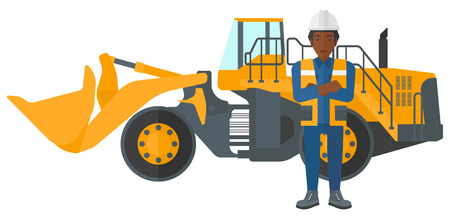 quarry: An african-american miner standing near a big mining equipment vector flat design illustration isolated on white background.