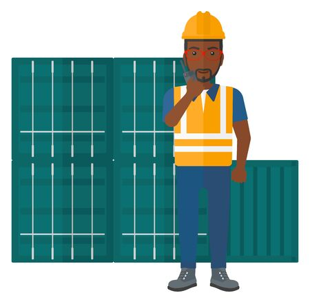 An african-american docker talking to a portable radio on cargo containers background vector flat design illustration isolated on white background.