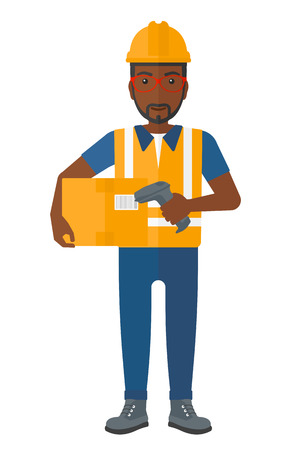 checking: An african-american worker checking barcode of a box with a scanner vector flat design illustration isolated on white background. Illustration
