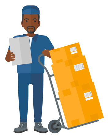 courier man: An african-american delivery man standing near cart with boxes and holding a file in a hand vector flat design illustration isolated on white background. Illustration