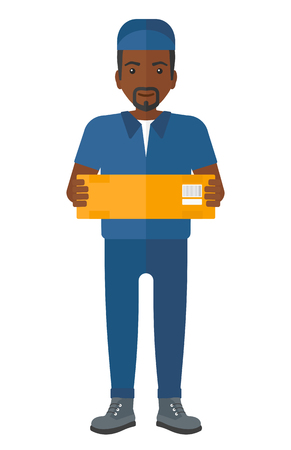 shipper: An african-american delivery man carrying box vector flat design illustration isolated on white background. Illustration