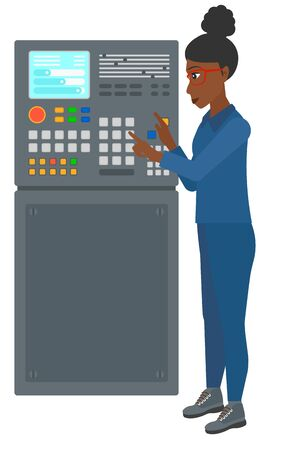 An african-american woman standing in front of the control panel vector flat design illustration isolated on white background.