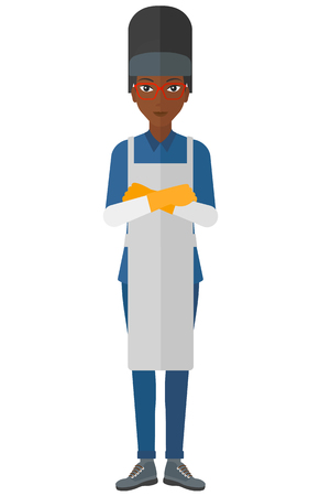 workwoman: An african-american welder standing with crossed arms vector flat design illustration isolated on white background.