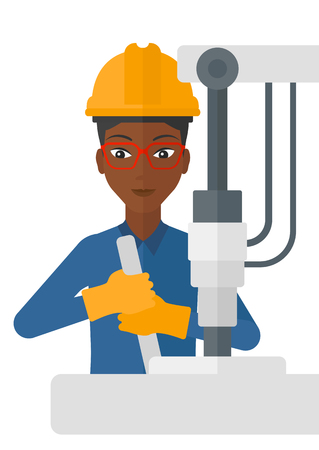 An african-american woman working with an industrial equipment vector flat design illustration isolated on white background.