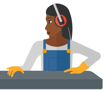 An african-american woman working on a steel-rolling mill vector flat design illustration isolated on white background.