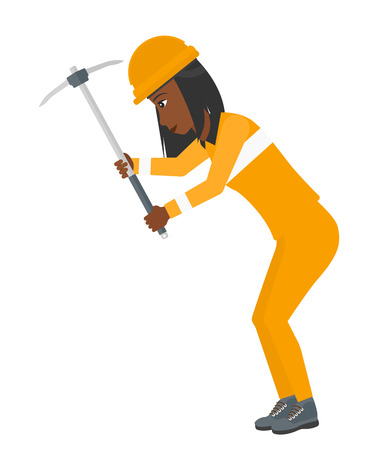 pickaxe: An african-american woman working with a pickaxe vector flat design illustration isolated on white background.