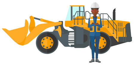 mining equipment: An african-american miner standing near a big mining equipment vector flat design illustration isolated on white background.