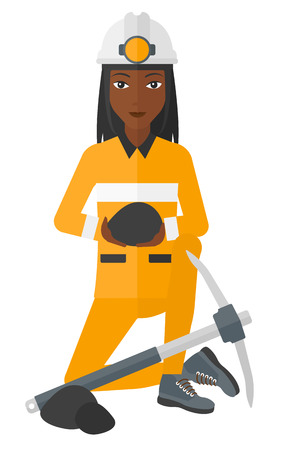 heavy construction: An african-american miner sitting near a pickaxe and holding coal in hands vector flat design illustration isolated on white background.