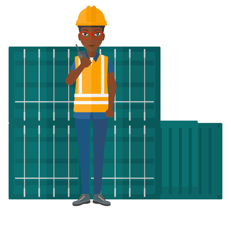 docker: An african-american docker talking to a portable radio on cargo containers background vector flat design illustration isolated on white background.