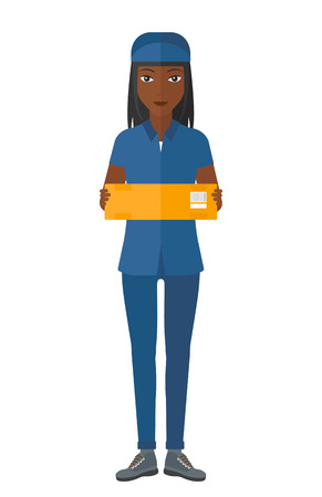 shipper: An african-american delivery woman carrying box vector flat design illustration isolated on white background.