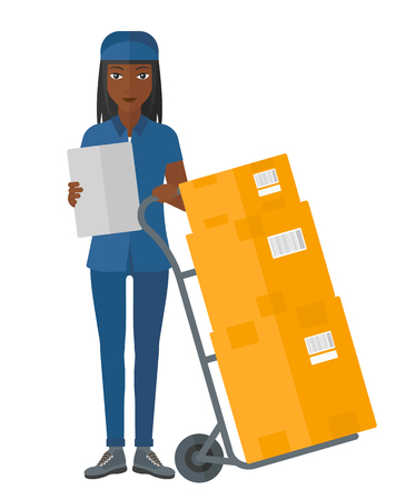 shipper: An african-american delivery woman standing near cart with boxes and holding a file in a hand vector flat design illustration isolated on white background.