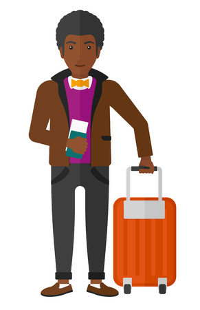 An african-american man standing with suitcase and holding a passport with ticket in hand vector flat design illustration isolated on white background. Illustration