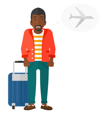 airport cartoon: An african-american man frightened by future flight vector flat design illustration isolated on white background. Illustration