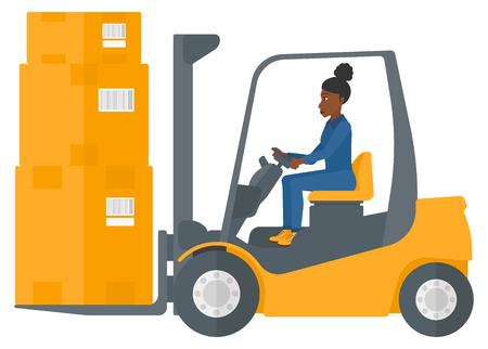 An african-american warehouse worker moving load by forklift truck vector flat design illustration isolated on white background.